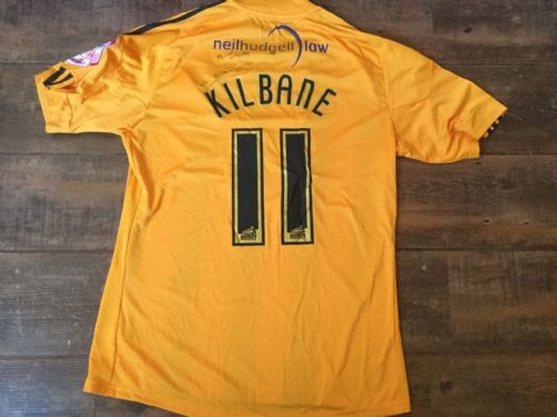 2010 2011 Hull City Kilbane Match Worn Home Poppy Football Shirt